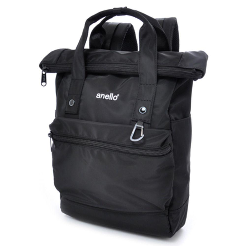 日本 Anello - 日本ACTIVE STREET高密度尼龍平口前折後背包-Regular大尺寸-BK黑色
