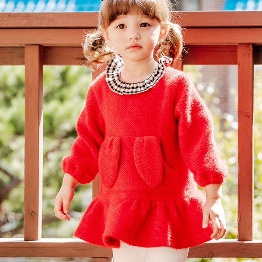 韓國 Bebezoo - 兔耳朵口袋針織洋裝-紅