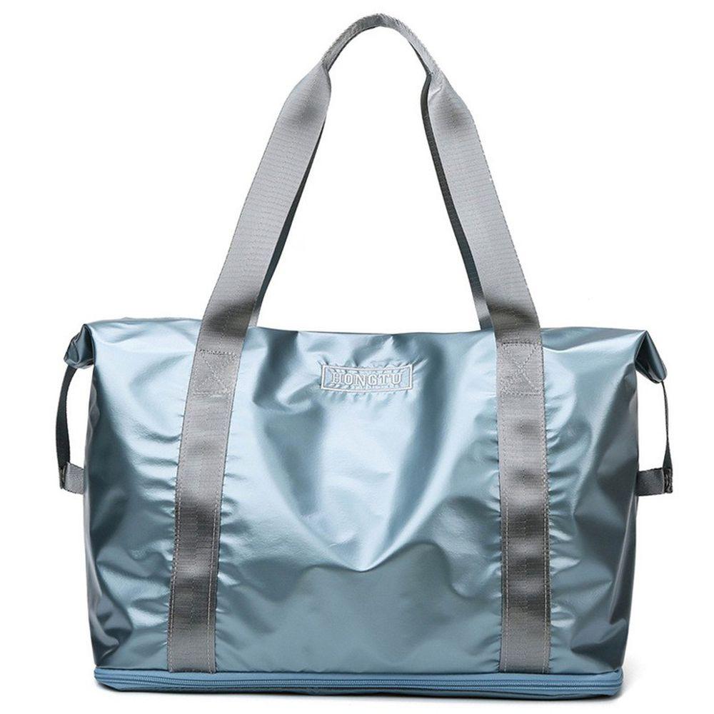 金屬光乾濕分離旅行包-水光藍