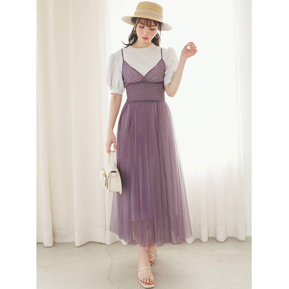 日本 GRL - 澎澎短袖洋裝 X 薄紗飄逸細肩帶洋裝兩件組-米X薰衣草