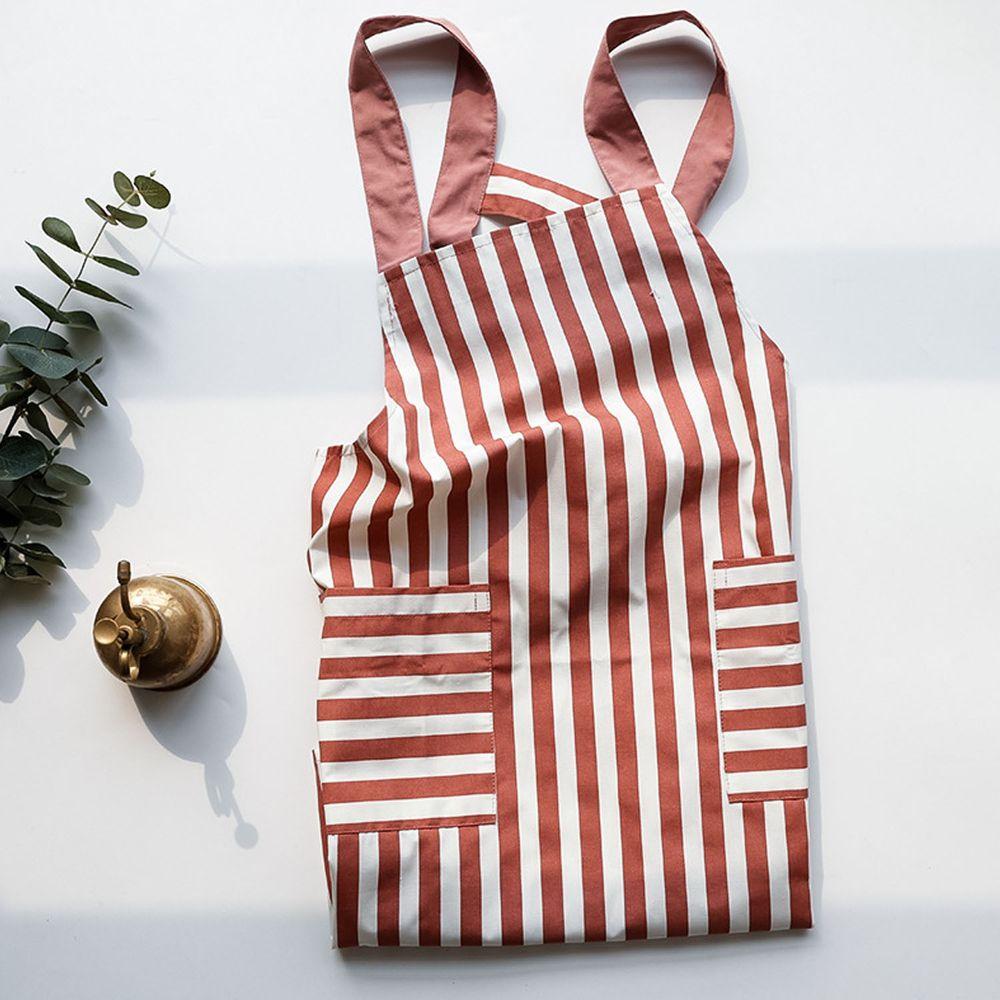 日系清新風圍裙-條紋-豆沙紅