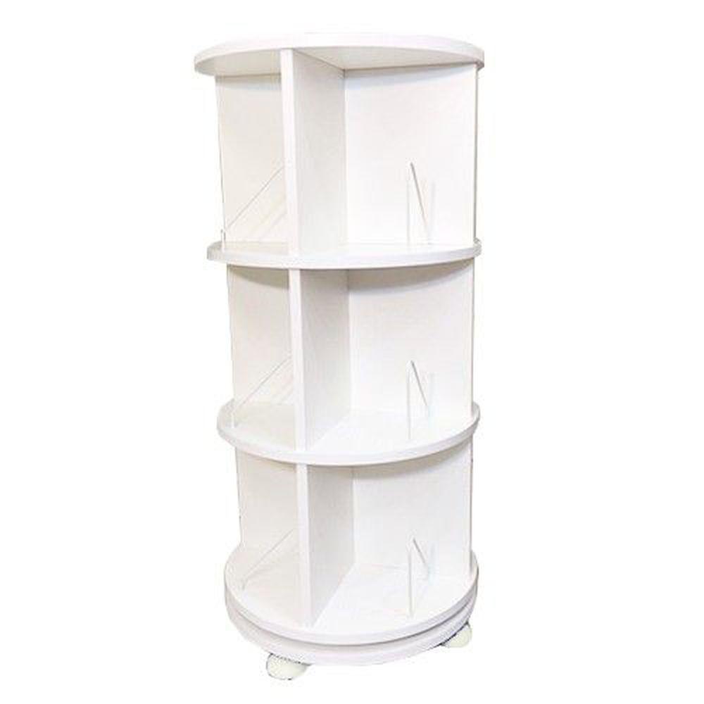 第一博士 - 360° 旋轉書櫃-三層式(高度107cm)-雪白-支架12入+水平儀4入
