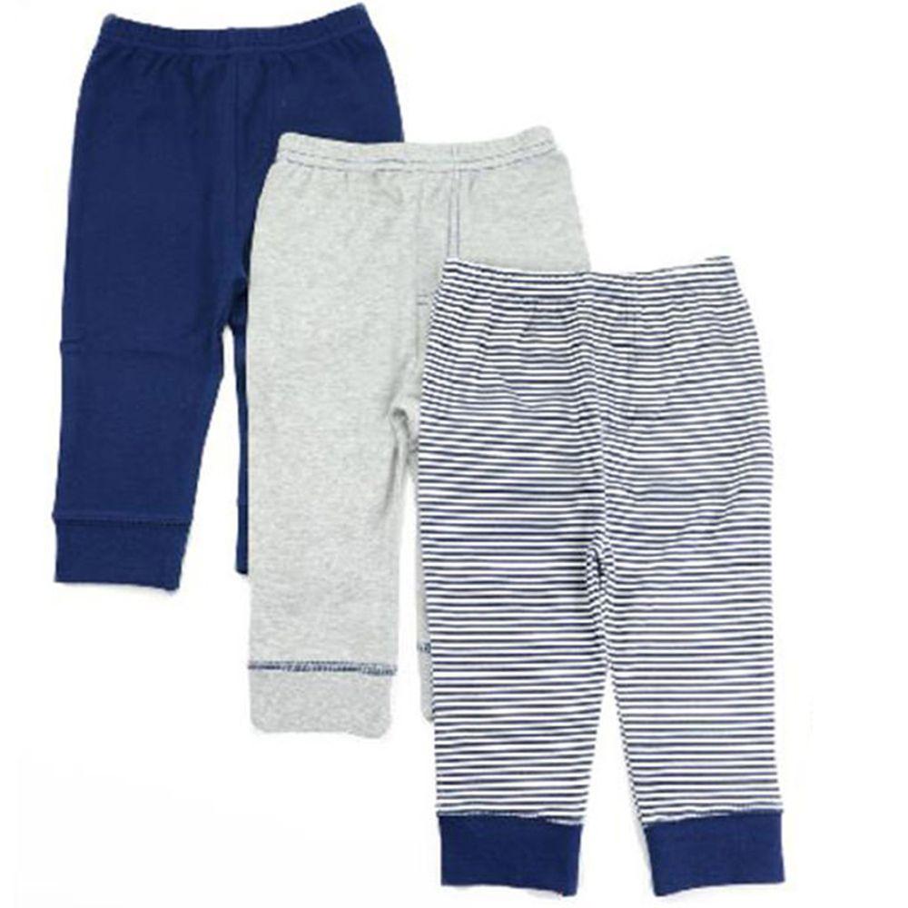 美國 Luvable Friends - 100%純棉嬰幼兒長褲3件組-灰藍線條