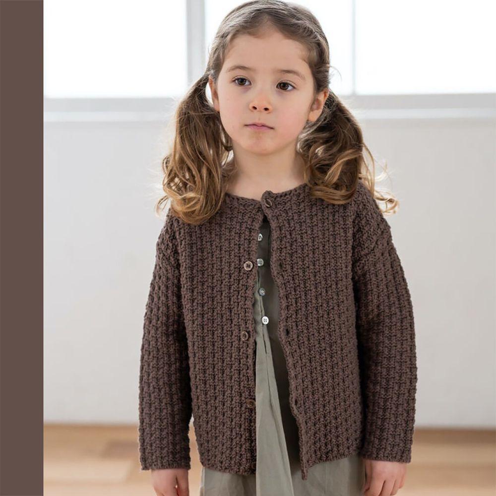 日本 riziere - 粗針織排釦外套-可可棕