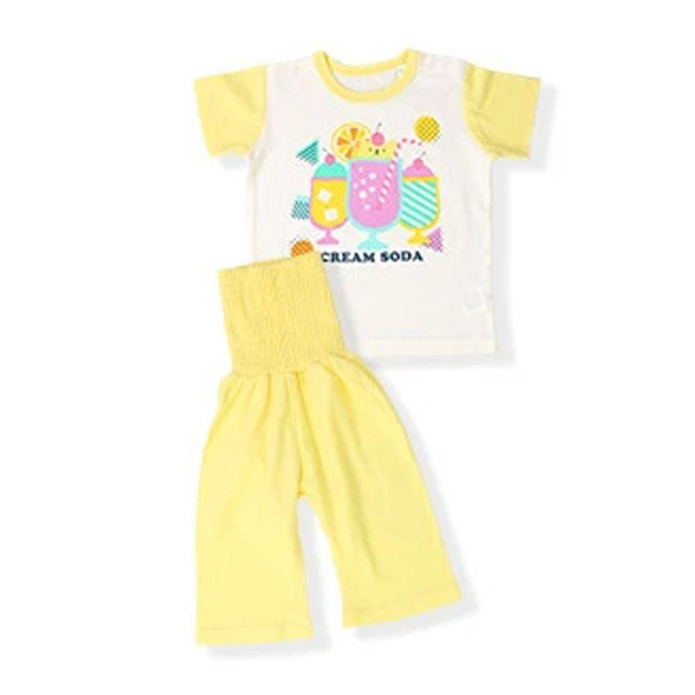 日本 ZOOLAND - 涼感 100%棉腹卷家居服(短袖+七分褲)-漂浮蘇打-黃白