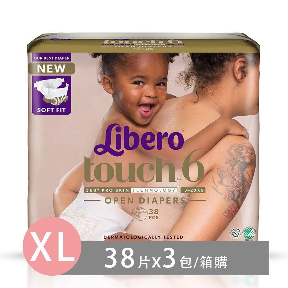 麗貝樂 Libero - 嬰兒尿布/紙尿褲touch-頂級系列 (XL/6號)-38片x3包