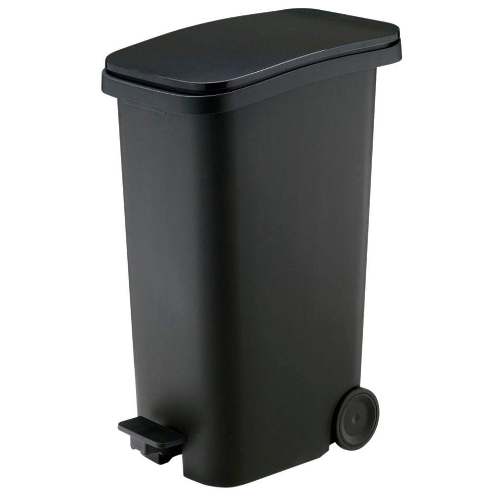 日本RISH - Smooth|踩踏式緩衝靜音垃圾桶-黑色-31L