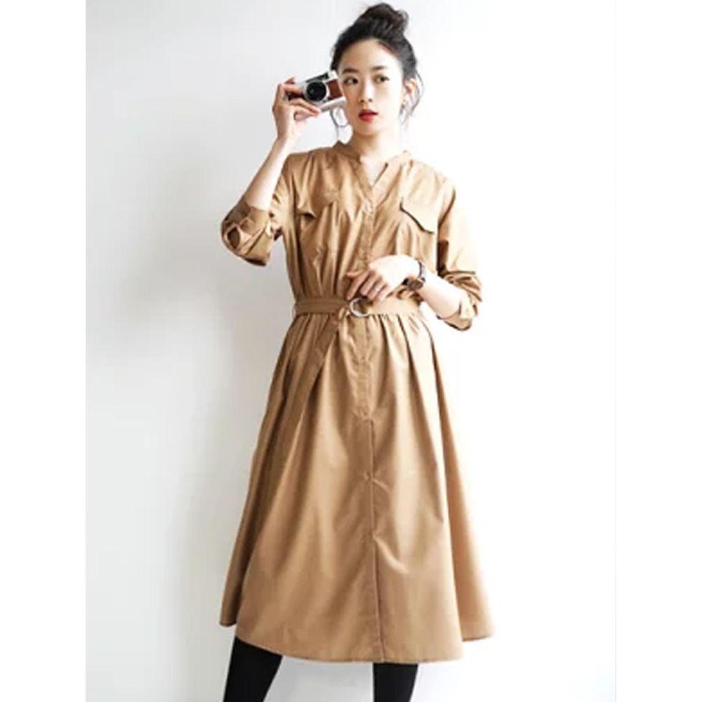 日本 zootie - 質感光澤帥氣工裝襯衫洋裝/外套-焦糖