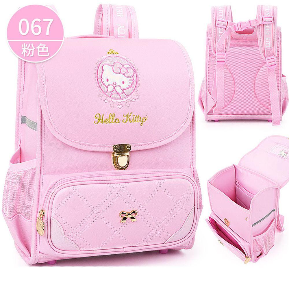 翻蓋式減壓書包-卡通人物Kitty-粉色 (建議身高110-140cm)