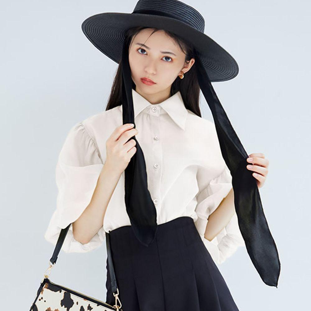 日本 GRL - 明星聯名款 修身澎澎袖五分袖微透膚襯衫-天使白