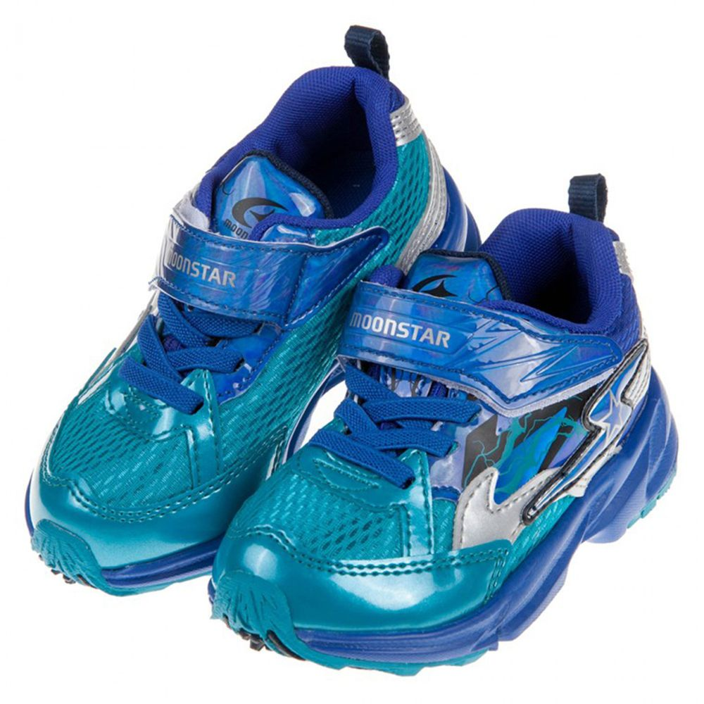 Moonstar日本月星 - 3E寬楦疾風閃電藍色兒童運動機能鞋