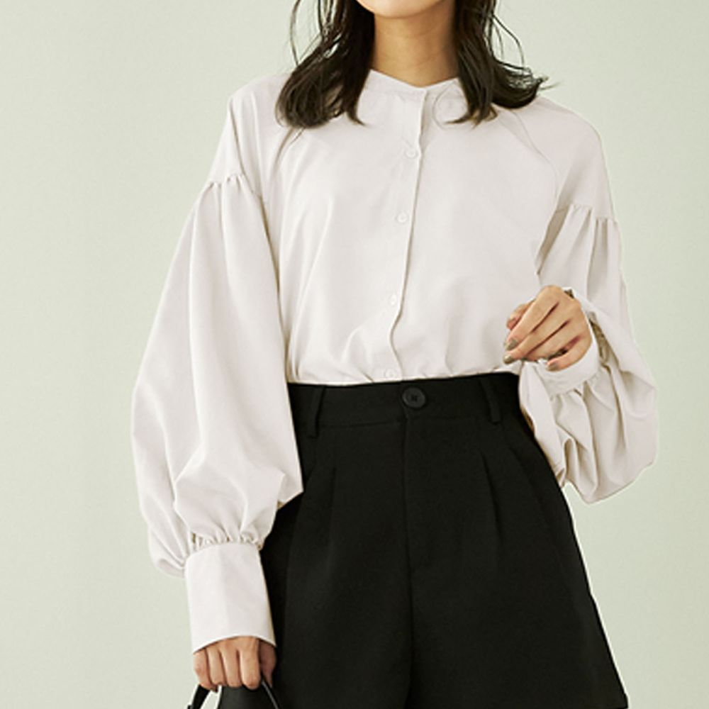 日本 GRL - 落肩顯瘦大澎袖束口長袖襯衫-白
