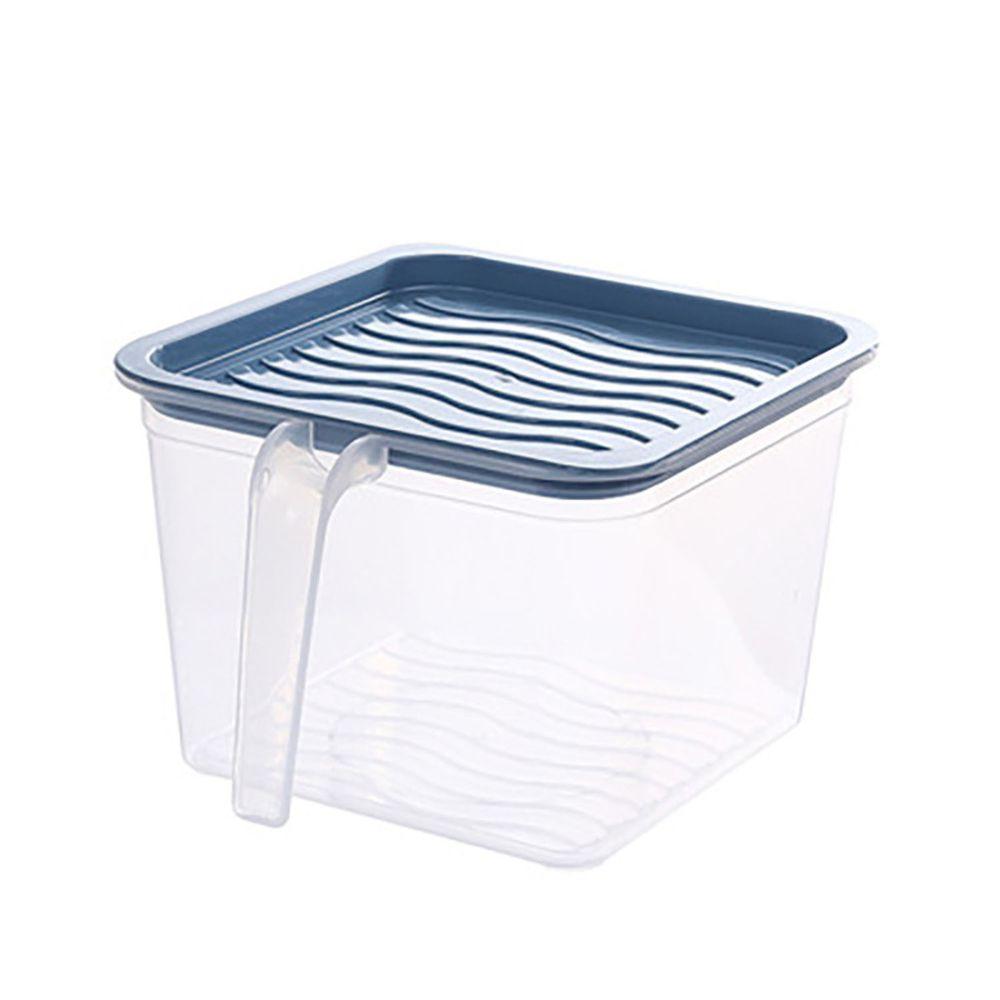 長方形透明附蓋收納盒-有把手款-深藍色
