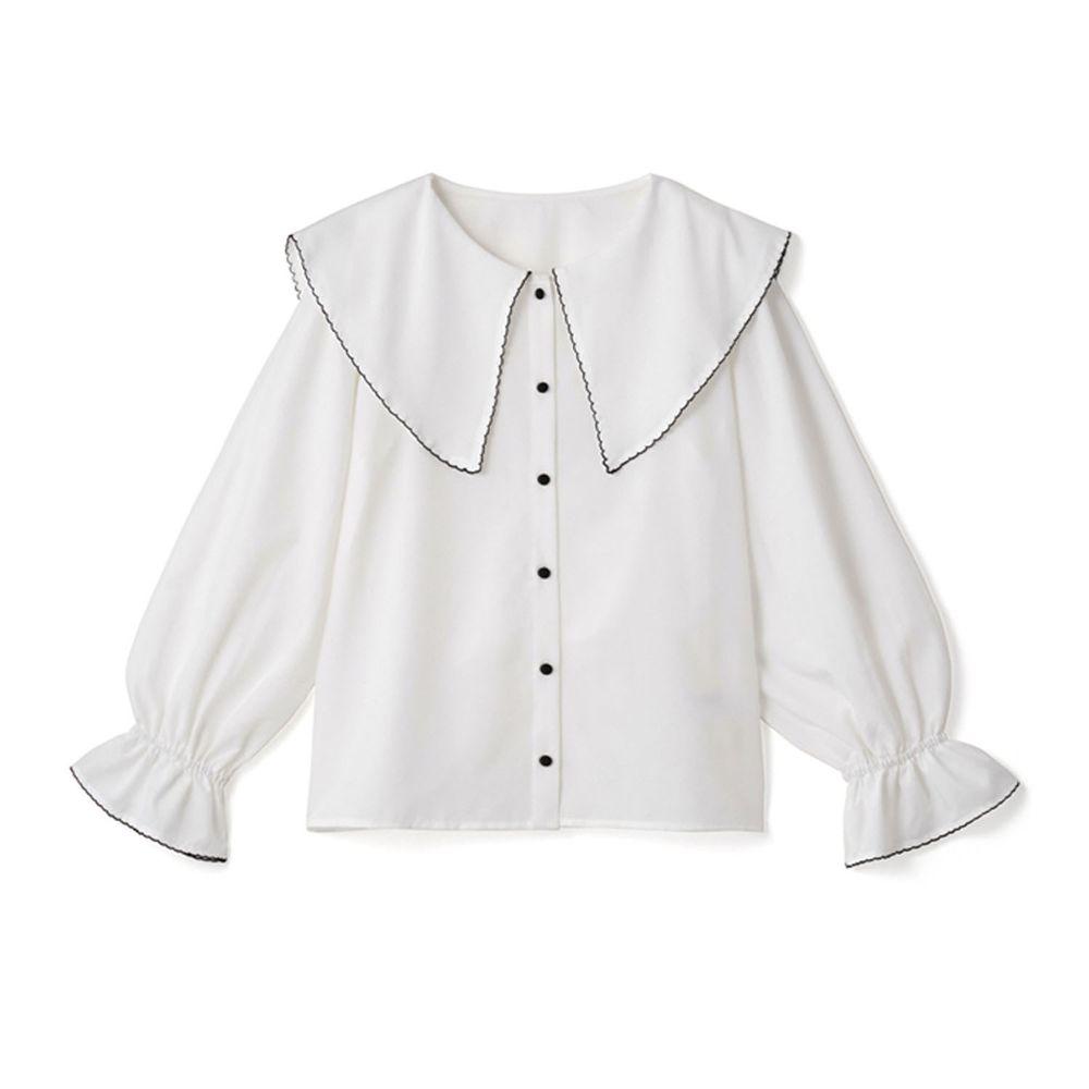 日本 GRL - 大尖領糖果束袖長袖襯衫-白