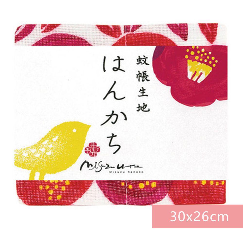 日本代購 - 【和布華】日本製奈良五重紗 手帕-郵便局之椿 (30x26cm)