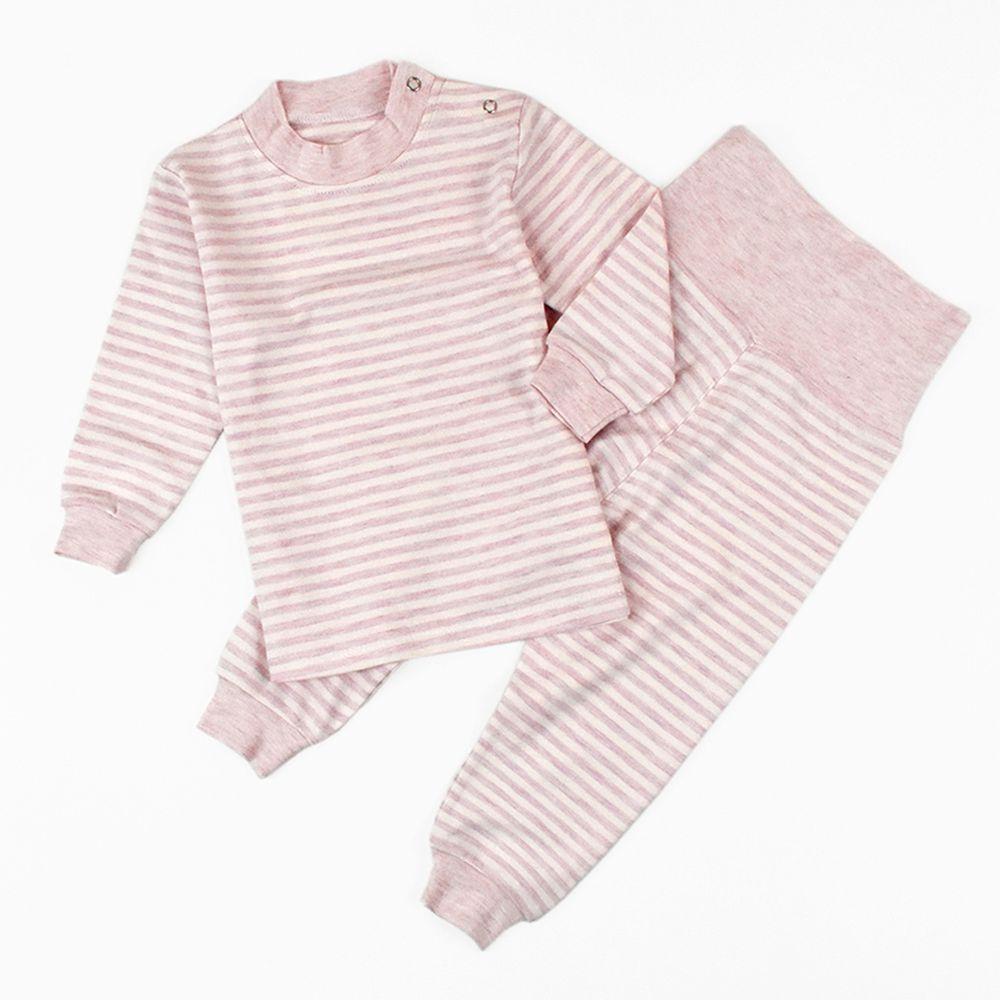 JoyNa - 高腰護肚褲+上衣套裝組-粉色條紋
