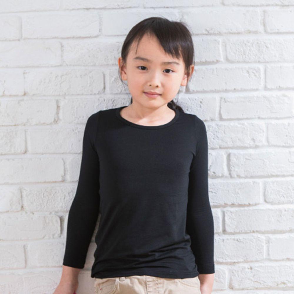 貝柔 Peilou - TENCEL日本吸濕發熱纖維保暖衣-童圓領-黑色