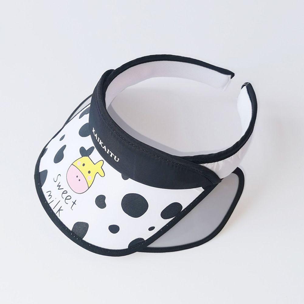 兒童大帽沿空頂遮陽帽-乳牛-白色 (50-53cm)