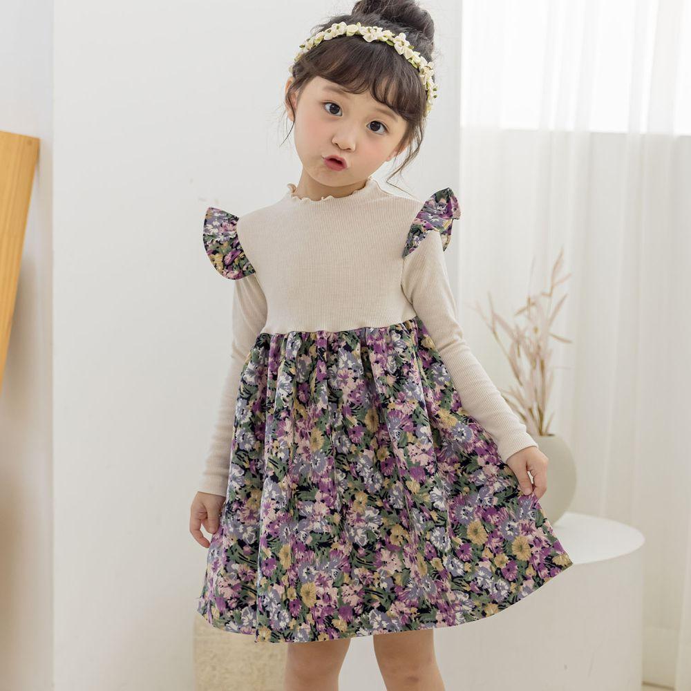 韓國 Orange Mom - 彩色花花針織拼接洋裝-米白