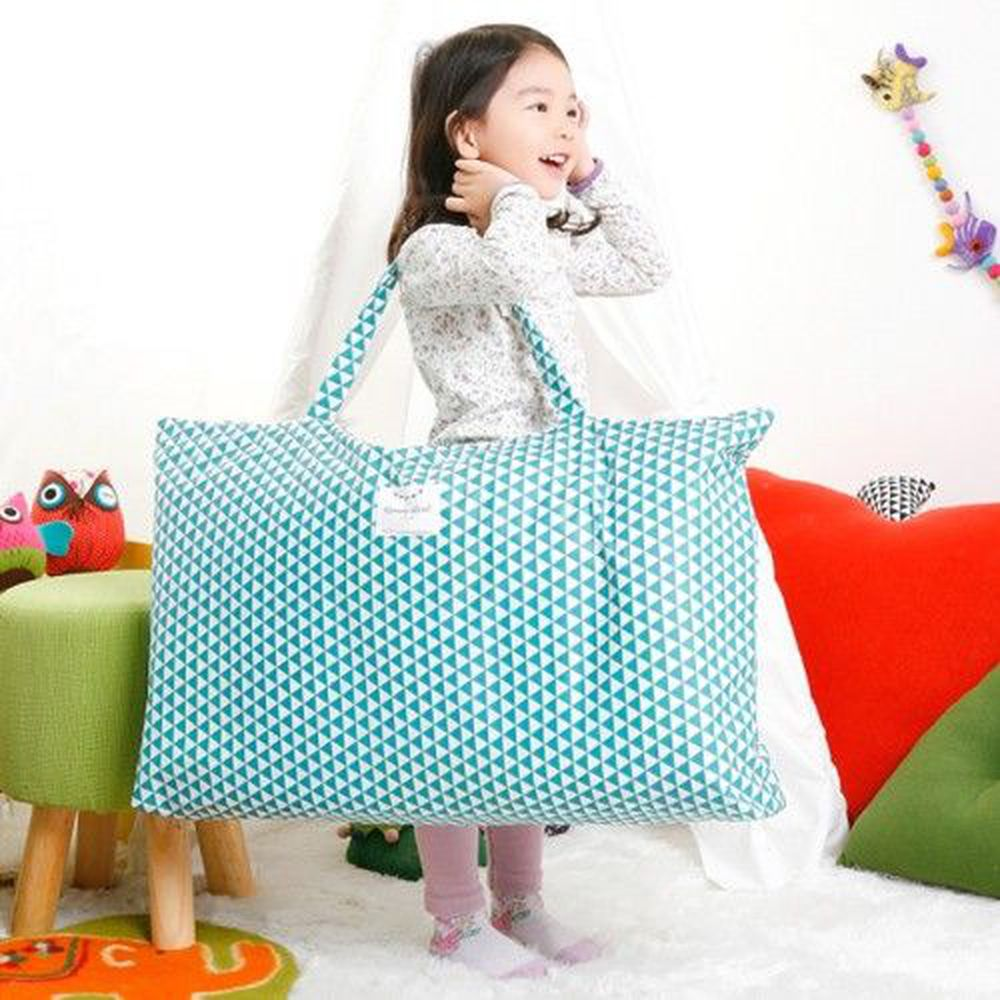 韓國 Coney Island - 防水睡袋收納袋(純棉內裏)-幾何三角形-藍綠 (77.5*42.5*11cm)