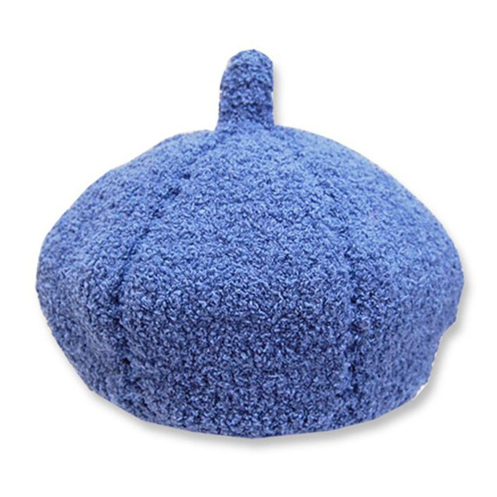 日本 ROMPING UNIVERSE - 日本製可愛冬帽-小童款-毛絨貝蕾帽_藍色-93-6006