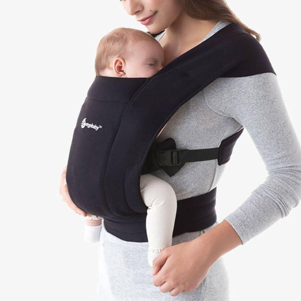 美國ERGObaby - Embrace環抱二式初生嬰兒背帶-黑色