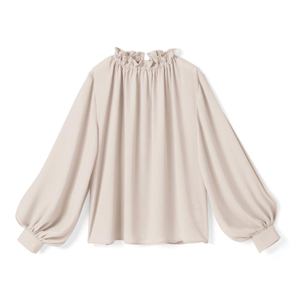 日本 GRL - 氣質小荷葉領雪紡長袖上衣-杏