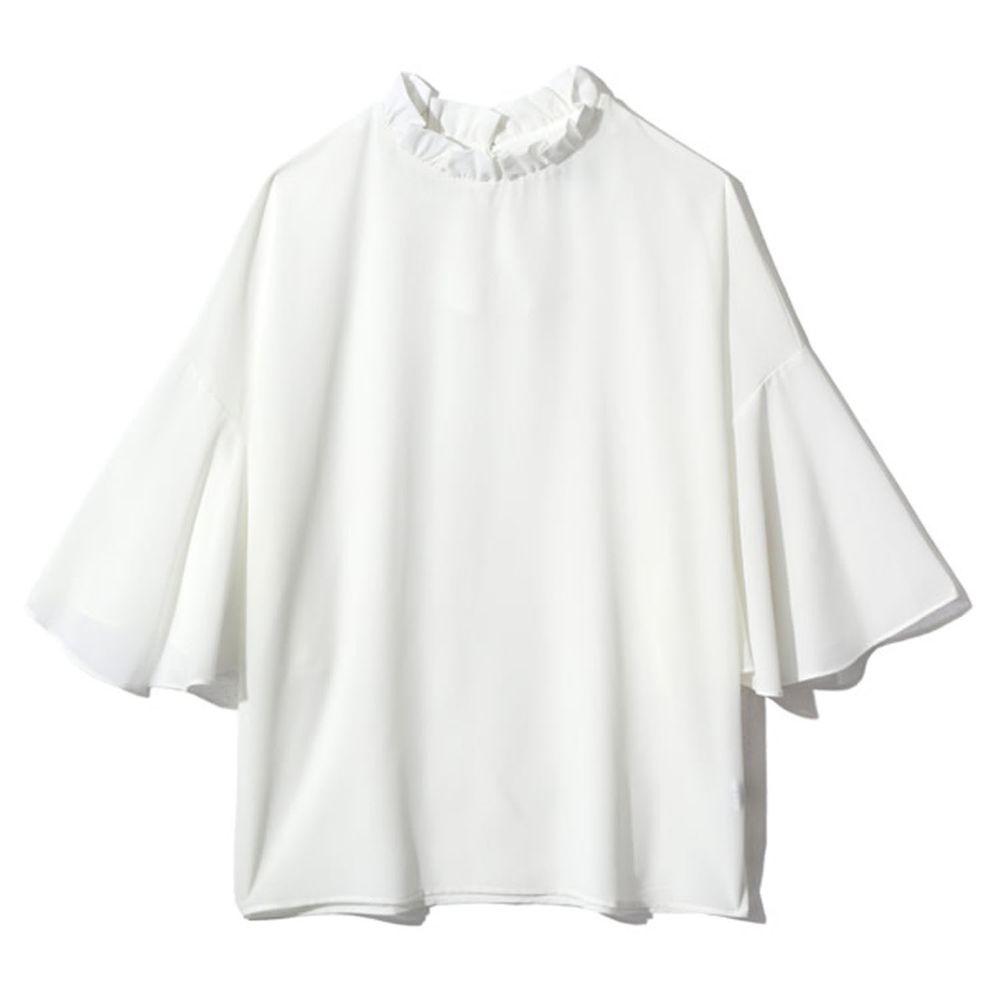 日本 GRL - 顯瘦垂墜七分袖上衣-白