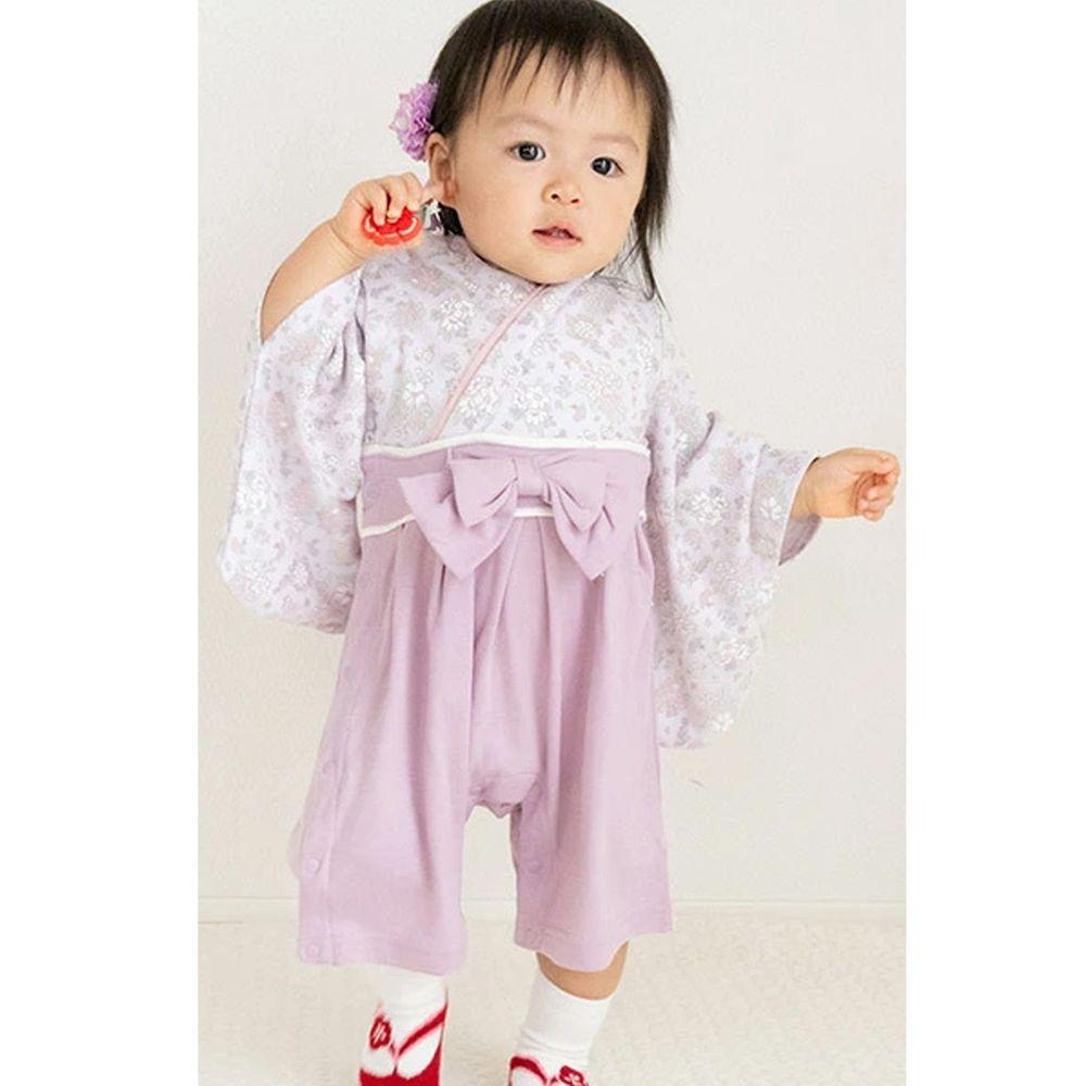 日本 ZOOLAND - 日本傳統袴 和服(連身衣式)附贈襪子-優雅小花-淺灰紫 (90)