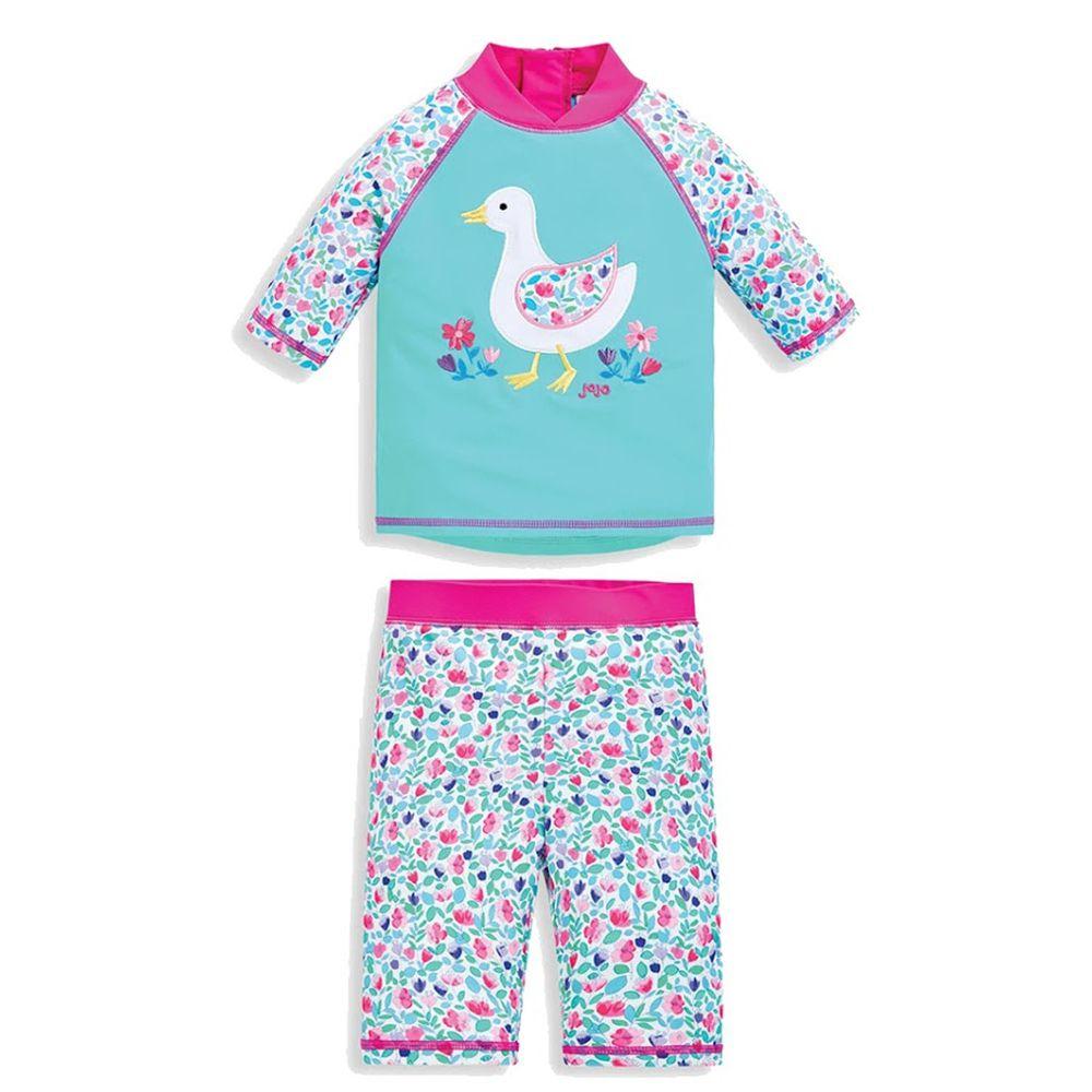 英國 JoJo Maman BeBe - 嬰幼兒/兒童兩件式防曬泳裝-優雅花鴨