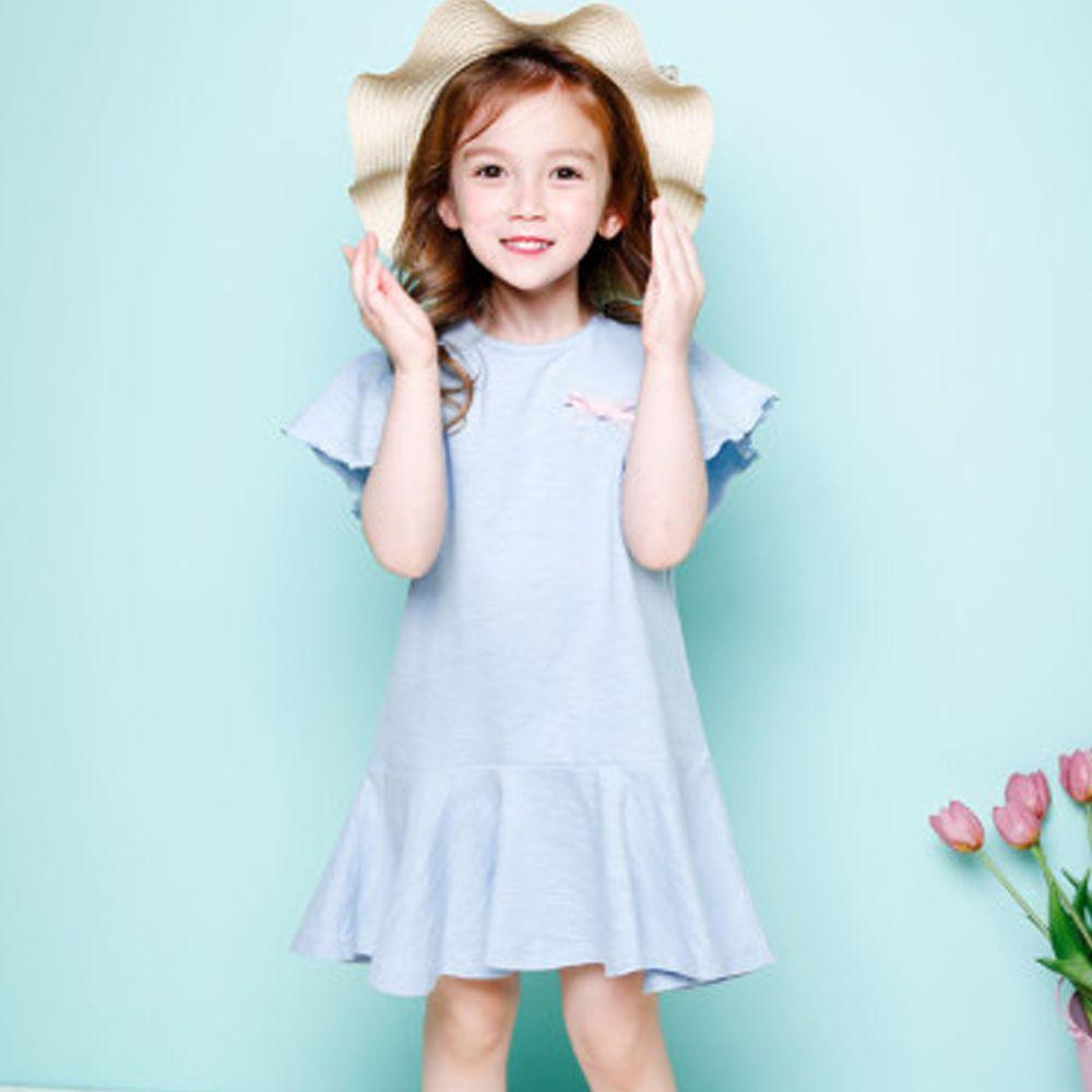 韓國 Jelispoon - 荷葉袖魚尾洋裝-天藍
