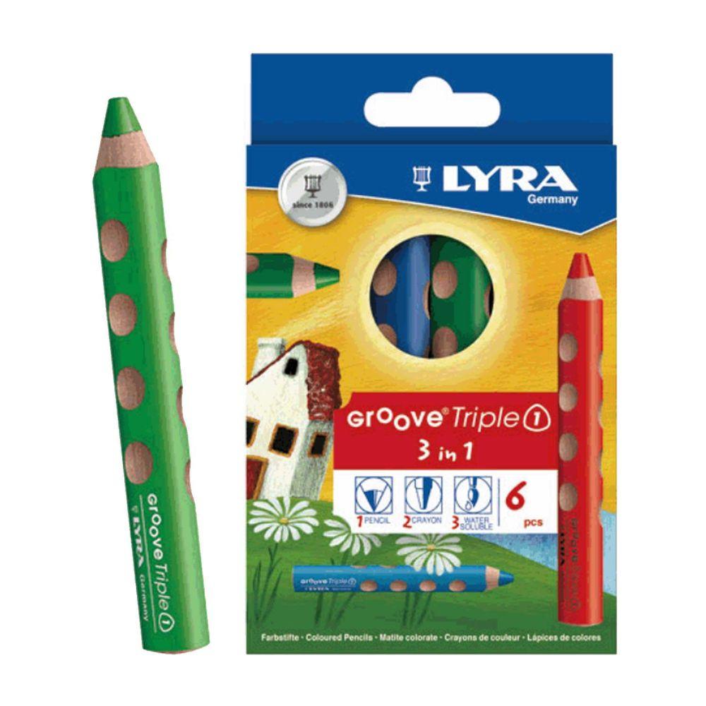 德國LYRA - Groove(3合1)胖胖三角洞洞筆(6色)-3歲以上