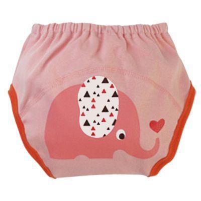 可愛動物純棉學習褲-親親小象-暗粉
