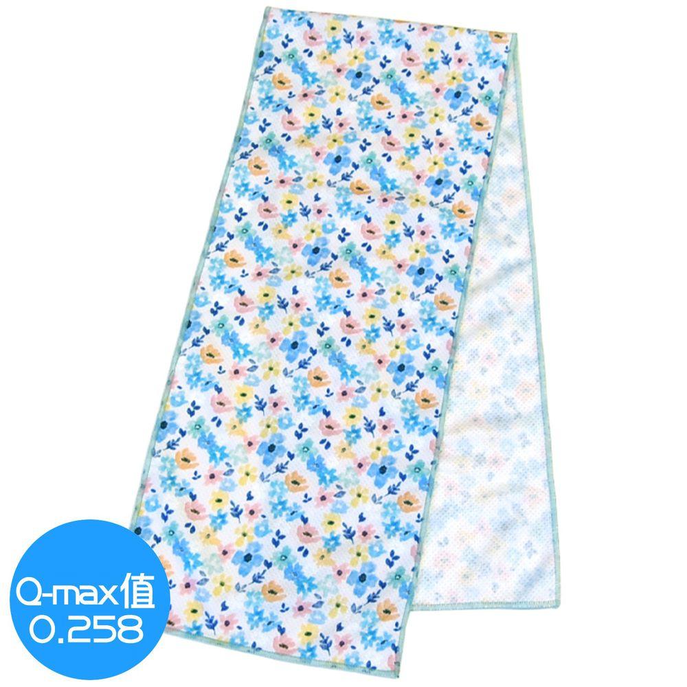 日本 DAIKAI - 抗UV接觸冷感 水涼感巾-百花齊放-粉黃藍 (L(100x20cm))