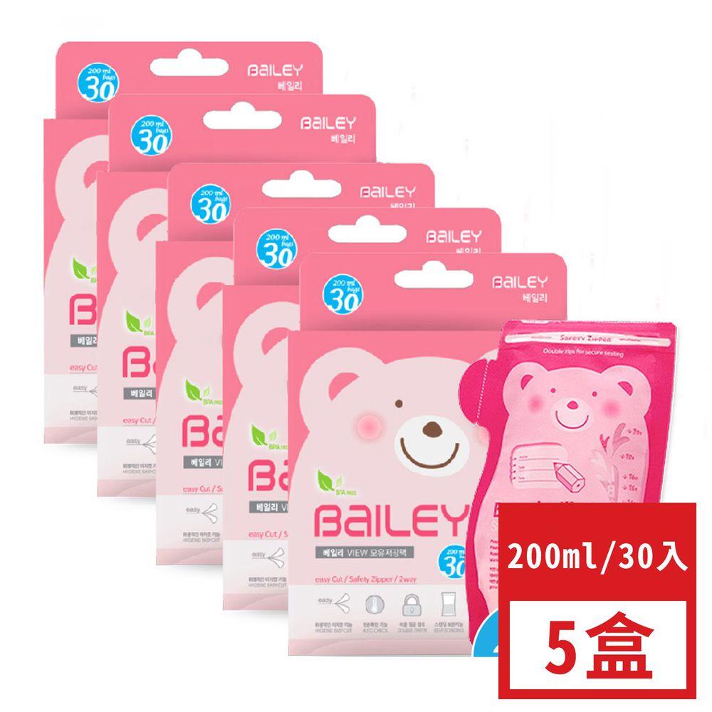 韓國 BAILEY 貝睿 - 感溫母乳儲存袋-壺嘴型-超值 5 盒組 (30入)-200ml-共150入