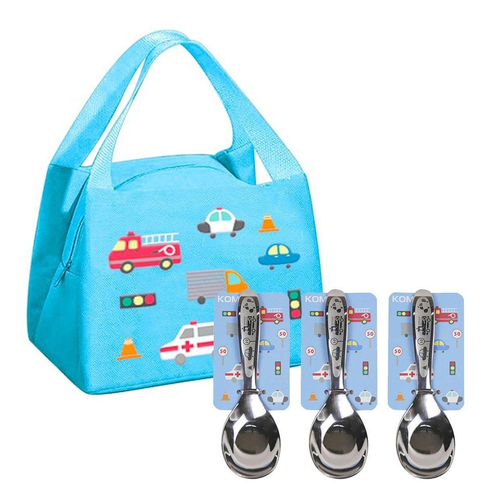 KOM - 童趣便當袋-3入組+316不鏽鋼兒童平底匙-3入組-汽車