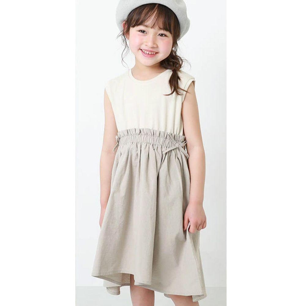 日本 devirock - 拼接修身無袖洋裝-杏
