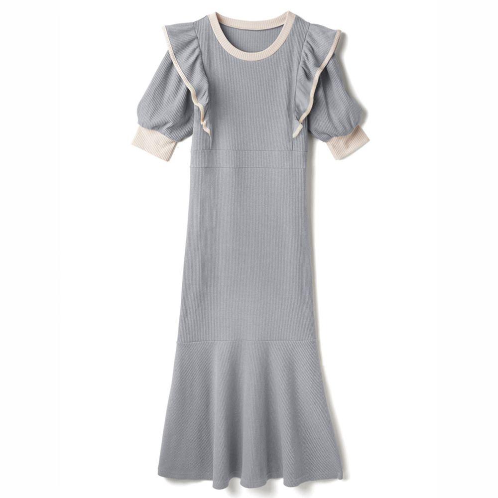 日本 GRL - 配色設計荷葉邊修身魚尾短袖洋裝-星塵藍