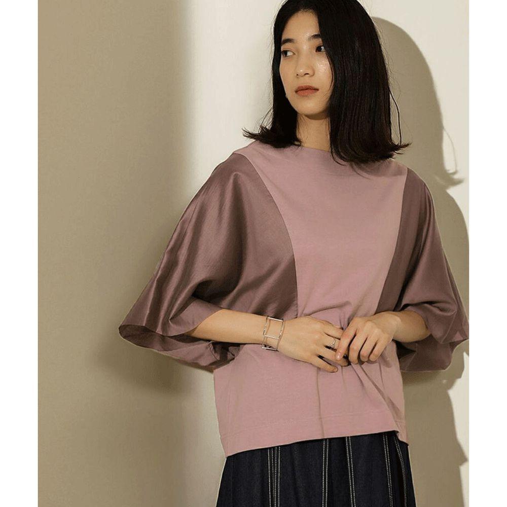 日本 Bou Jeloud - 修身剪裁撞色傘狀七分袖上衣-粉X紫