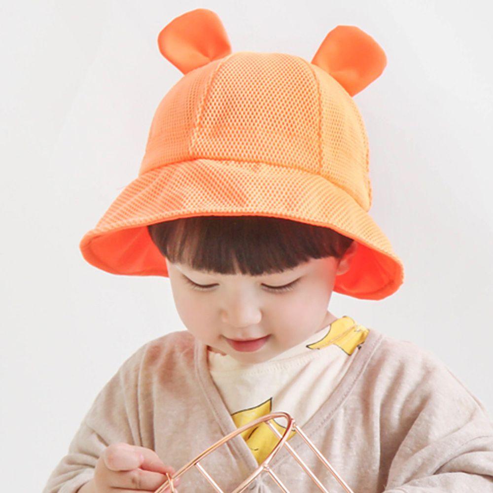 韓國 Babyblee - 小耳朵網格透氣遮陽帽-亮橘 (頭圍:46-50cm)