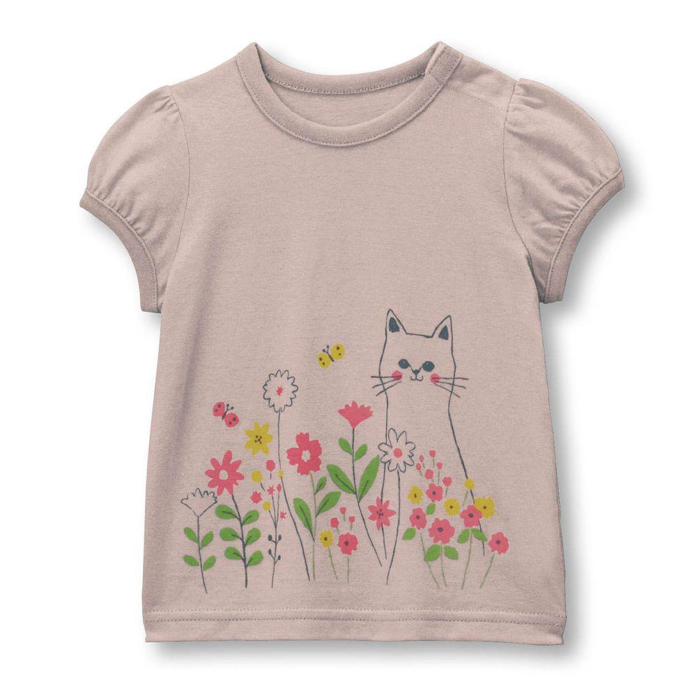 日本千趣會 - 天竺棉印花短T(小童)-小貓花叢-灰杏