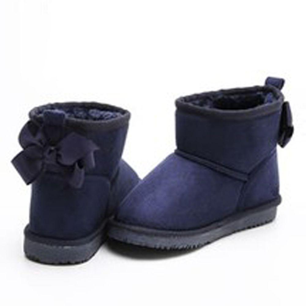 日本 Maison de Ravi - 浪漫蝴蝶結毛絨短筒雪靴-海軍藍