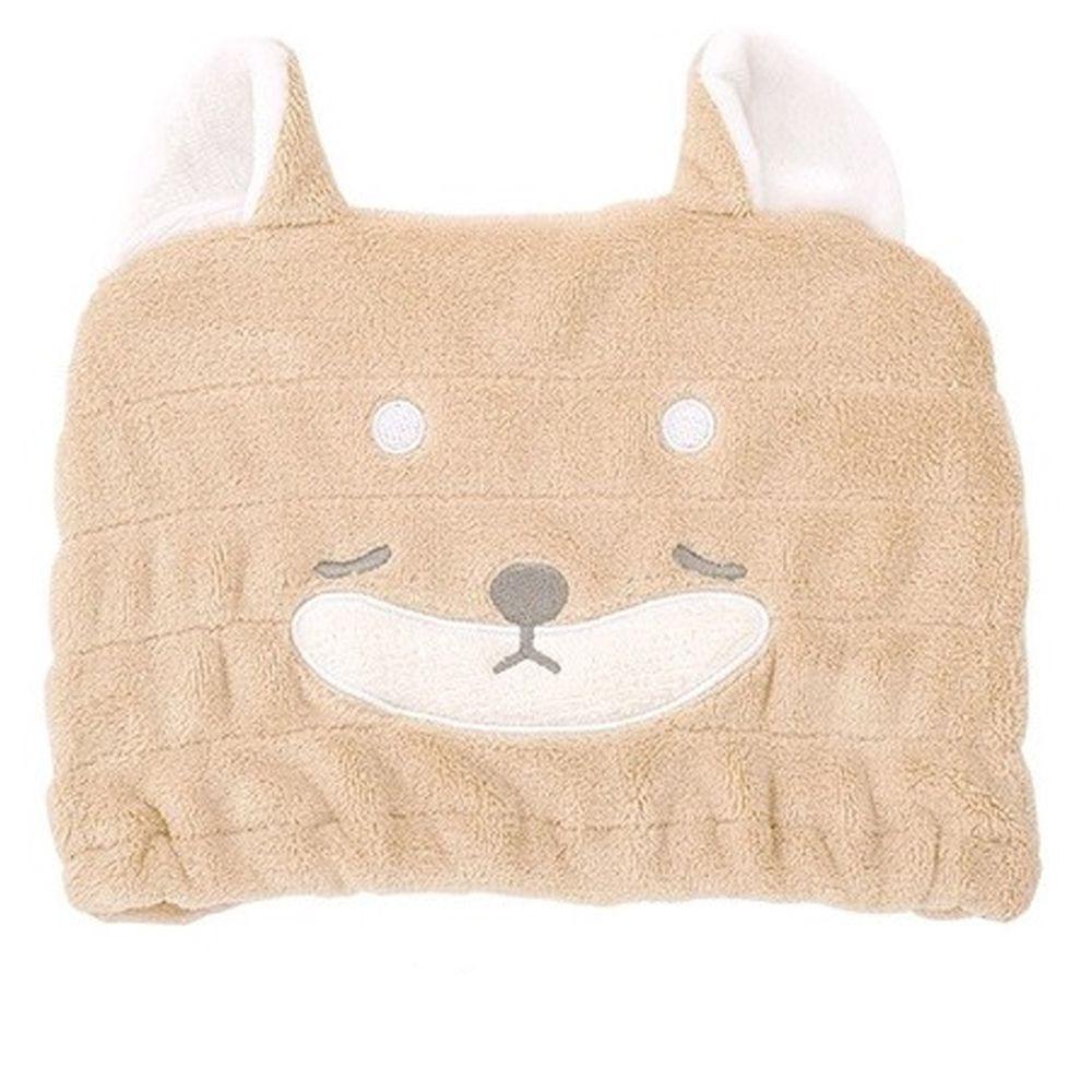 日本 LIV HEART - 5倍吸水力蓬鬆柔軟 兒童浴帽-柴犬-咖 (頭圍45cm以上)