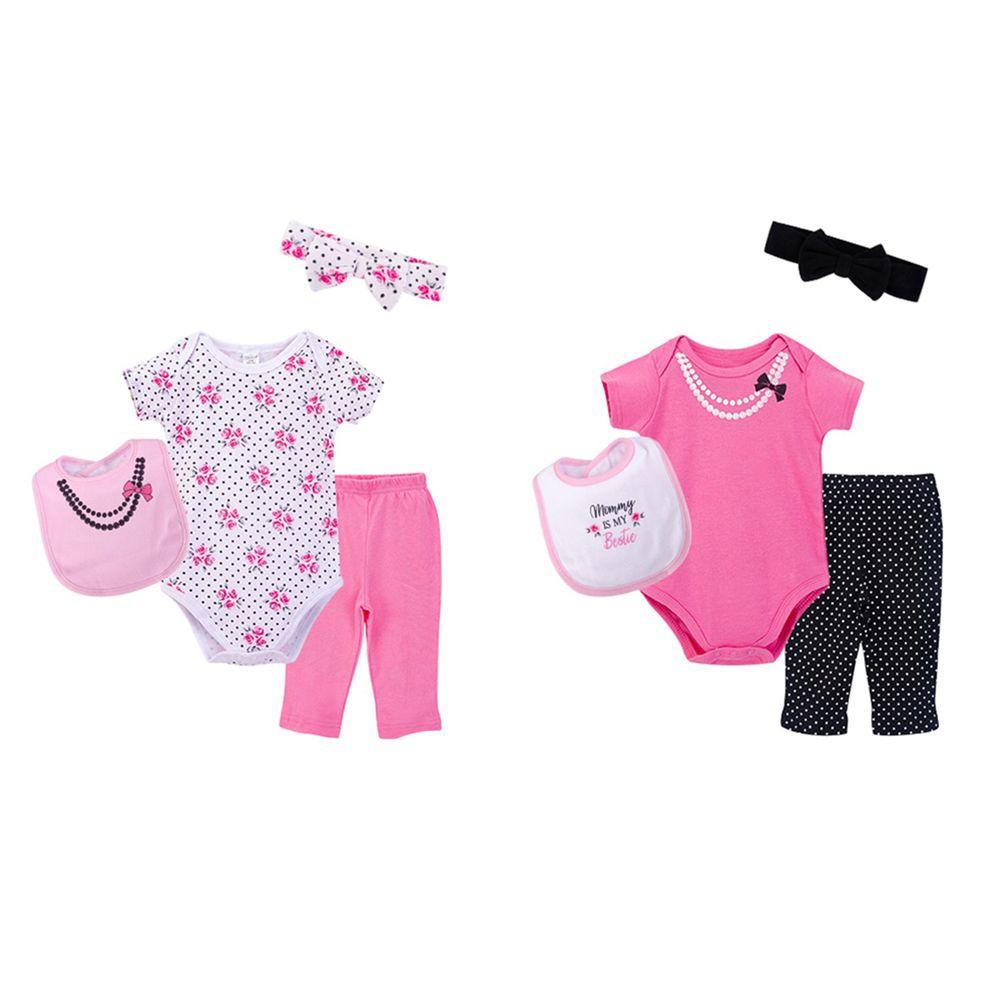 美國 Luvable Friends - 嬰幼兒包屁衣與長褲最佳送禮8入禮盒組-玫瑰甜心 (0-6M)