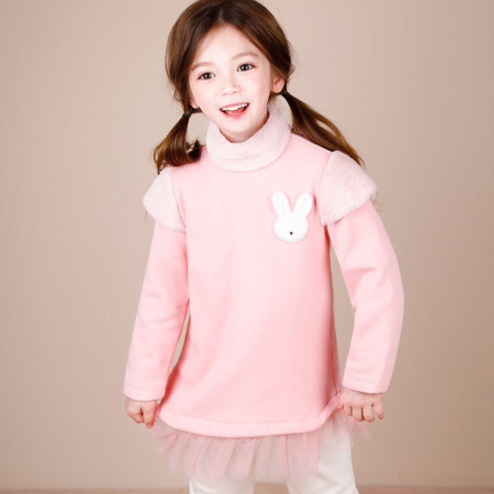 韓國 Jelispoon - (內刷毛)小兔子網紗下擺套裝