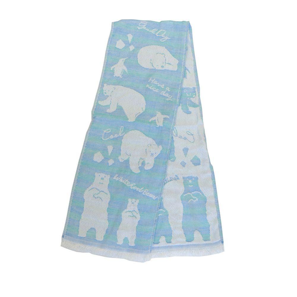 日本涼感雜貨 - 日本製 Eco de COOL 接觸冷感長毛巾-北極熊企鵝-水藍 (100x16cm)