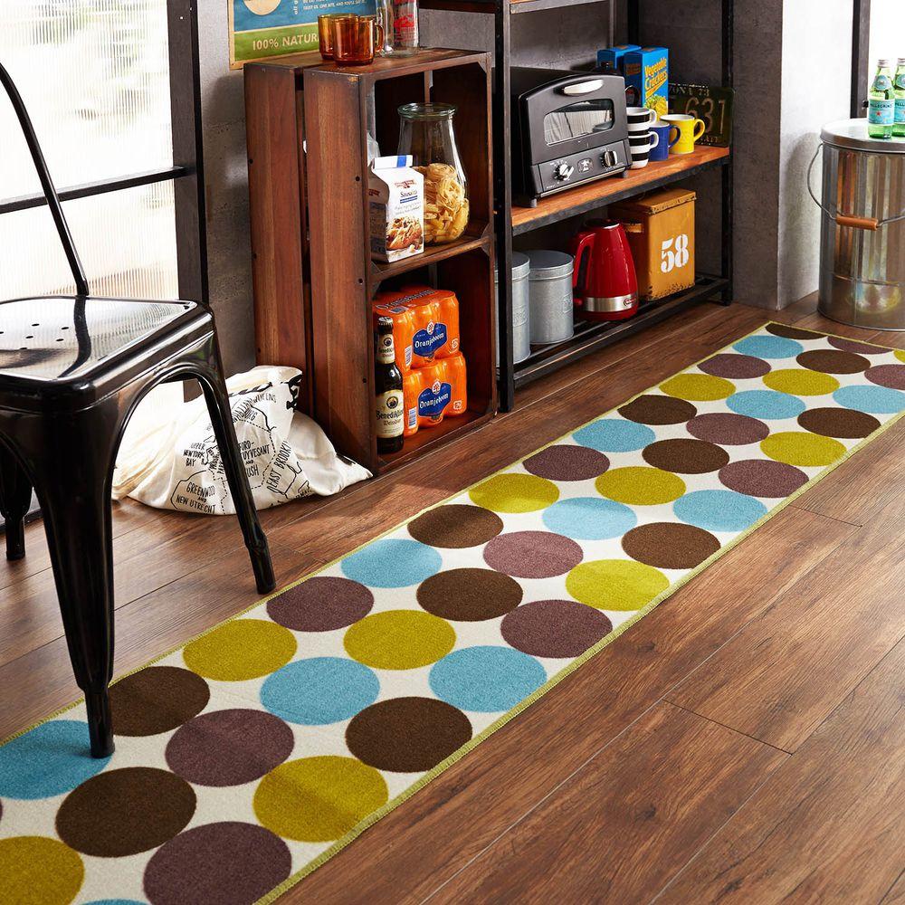 日本千趣會 - 質感長條型腳踏墊(廚房/臥室)-繽紛普普圓點-藍綠系