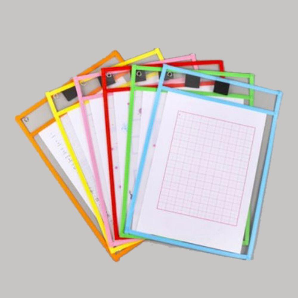 可擦寫透明文件袋-六入(六色各一) (35.5*25.5cm)
