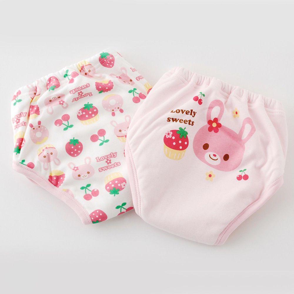 日本 Chuckle Baby - 六層學習褲(兩件組)-兔兔+草莓-粉-密縫式