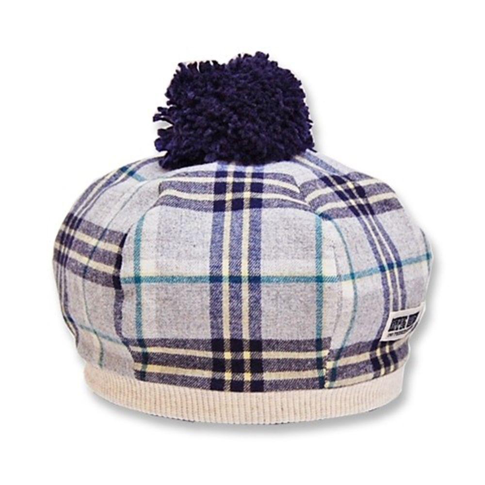 日本 ROMPING UNIVERSE - 日本製可愛冬帽-小童款-貝蕾帽_灰格紋-83-2011